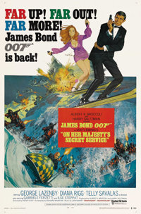 """On Her Majesty's Secret Service (United Artists, 1969). One Sheet (27"""" X 41"""") Style B. When Sean Connery refus..."""