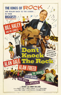 "Don't Knock the Rock (Columbia, 1957). One Sheet (27"" X 41""). Alan Dale and his band want to cool it in their..."