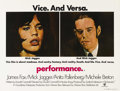 "Movie Posters:Drama, Performance (Warner Brothers, 1970). British Quad (30"" X 40""). Mobenforcer James Fox is on the run. Rock star Mick Jagger o..."