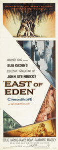 "Movie Posters:Drama, East of Eden (Warner Brothers, 1955). Insert (14"" X 36""). The legendary James Dean was given his first screen role and first..."