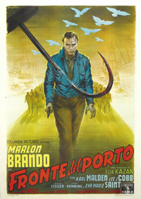 "On the Waterfront (Columbia, 1954). Italian 4-Folio (55"" X 78""). Capturing the Best Picture of the Year Oscar..."