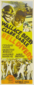 "Movie Posters:Adventure, Hell Divers (MGM, 1932). Insert (14"" X 36""). In this early ClarkGable vehicle, the star appears opposite Wallace Beery as a..."