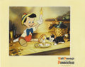 "Movie Posters:Animated, Pinocchio (RKO, 1940). Lobby Card (11"" X 14""). This exceptionalscene card features one of the funniest moments from this Di..."