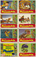 "Movie Posters:Animated, Pinocchio (RKO, R-1945). Lobby Card Set of 8 (11"" X 14""). Thisearly re-issue lobby card set has pinholes in the corners, wr..."