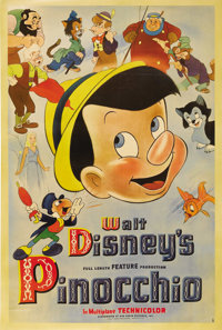 "Pinocchio (RKO, 1940). Poster (40"" X 60""). This fabulous poster is from the original release of the classic Wa..."