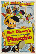 "Movie Posters:Animated, Pinocchio (RKO, R-1954). One Sheet (27"" X 41""). Beautiful 1954reissue poster for Disney's classic animation story. This lov..."