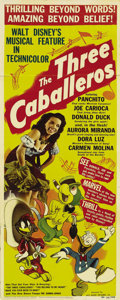 """Movie Posters:Animated, The Three Caballeros (RKO, 1944). Insert (14"""" X 36""""). Donald Duckbecomes the perfect American tourist when he goes to South..."""