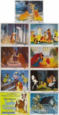 "Movie Posters:Animated, Lady and the Tramp (Buena Vista, 1955). Lobby Card Set of 9 (11"" X14""). This set of lobby cards, like most of the Disney fi..."