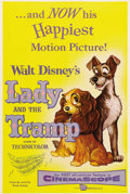 "Movie Posters:Animated, Lady and the Tramp (Buena Vista, 1955). One Sheet (27"" X 41""). Lady and Tramp both appear on this wonderful one sheet from o..."