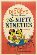 "Movie Posters:Animated, The Nifty Nineties (RKO, 1941). One Sheet (27"" X 41""). Goofy,Mickey and Minnie Mouse appear on this quaint one sheet releas..."