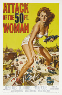 "Attack of the 50 Foot Woman (Allied Artists, 1958). One Sheet (27"" X 41""). Allison Hayes, our heroine, is kidn..."