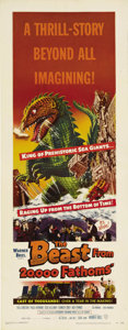 "Movie Posters:Science Fiction, The Beast from 20,000 Fathoms (Warner Brothers, 1953). Insert (14""X 36""). Although Ray Harryhausen did most of the animatio..."