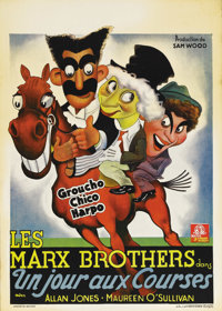 """A Day at the Races (MGM, 1937). Pre-War Belgian (24"""" X 34""""). In their second film for MGM, Groucho, Harpo and..."""