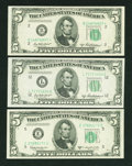 Small Size:Federal Reserve Notes, Three Cold War Fives.. ... (Total: 3 notes)