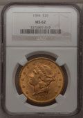 Liberty Double Eagles: , 1894 $20 MS62 NGC. NGC Census: (4748/1348). PCGS Population(3289/1015). Mintage: 1,368,990. Numismedia Wsl. Price for prob...