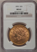 1893 $20 MS62 NGC. NGC Census: (2023/637). PCGS Population (1397/660). Mintage: 344,200. Numismedia Wsl. Price for probl...