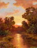 Texas, A. D. GREER (American, 1904-1998). Sunset Buckeye, circa1988. Oil on canvas. 16 x 12 inches (40.6 x 30.5 cm). Signed l...