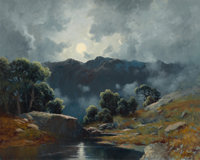 A. D. GREER (American, 1904-1998) Moonlit Landscape Oil on canvas 24 x 30 inches (61.0 x 76.2 cm)