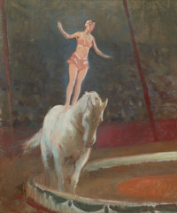 VICTOR COLEMAN ANDERSON (American, 1882-1937) Trick Rider Oil on artist's board 10 x 8 inches (25