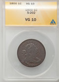 1800 1C VG10 ANACS. NGC Census: (2/47). PCGS Population (2/72). Mintage: 2,822,175. Numismedia Wsl. Price for problem fr...