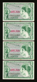 Military Payment Certificates:Series 651, Series 651 $1 Four Consecutive Examples Choice About New....(Total: 4 notes)