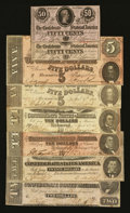 Confederate Notes:1862 Issues, 1862, 1863, and 1864 Confederate Notes.. ... (Total: 8 notes)