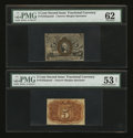 Fractional Currency:Second Issue, Fr. 1232sp 5¢ Second Issue Narrow Margin Pair PMG About Uncirculated 53 Net and PMG Uncirculated 62.... (Total: 2 notes)
