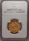 Liberty Eagles: , 1882-O $10 XF45 NGC. NGC Census: (27/125). PCGS Population (38/71).Mintage: 10,820. Numismedia Wsl. Price for problem free...