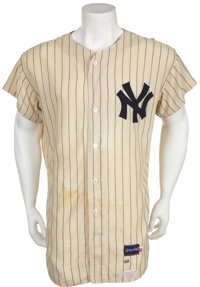 1966-68 Mickey Mantle Game Worn Jersey with Extensive and Important Photo Matching