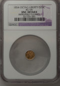 California Fractional Gold, 1854 25C Liberty Octagonal 25 Cents, BG-105, R.3,--ImproperlyCleaned--UNC NGC. UNC Details. NGC Census: (0/47). PCGS Popul...