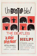 "Movie Posters:Rock and Roll, Help!/A Hard Day's Night Combo (United Artists, R-1965). One Sheet (27"" X 41"").. ..."