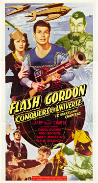 "Flash Gordon Conquers the Universe (Universal International, R- Late 1940s). Three Sheet (41"" X 81"")"