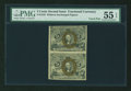 Fractional Currency:Second Issue, Fr. 1232 5¢ Second Issue Uncut Vertical Pair PMG About Uncirculated 55 EPQ....
