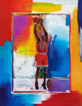 Basketball Collectibles:Others, Late 1990's Michael Jordan Signed Peter Max Lithograph with Remarque....