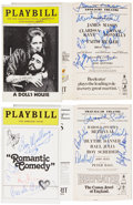 Movie/TV Memorabilia:Autographs and Signed Items, Assorted Cast- and Crew-Signed Playbills.... (Total: 4Items)