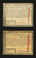 Colonial Notes:Massachusetts, Two Massachusetts May 5, 1780 About New Notes.... (Total: 2 notes)