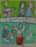 Paintings, KAREN FINLEY (American, b. 1956). Only Boys Can Be King. Mixed media on paper. 25-1/4 x 19-1/2 inches (64.1 x 49.5 cm). ...