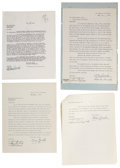 Movie/TV Memorabilia:Autographs and Signed Items, Laurel and Hardy Signed Documents.... (Total: 9 Items)