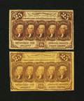 Fractional Currency:First Issue, Fr. 1280 and 1281 25¢ First Issue Notes.... (Total: 2 notes)