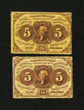 Fractional Currency:First Issue, Fr. 1228 and 1229 5¢ First Issue Notes About New.... (Total: 2 notes)