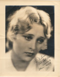 "Movie Posters:Miscellaneous, Dolores Costello (Warner Brothers, 1928). Autographed Portrait (11"" X 14"").. ..."
