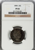 Proof Barber Quarters: , 1898 25C PR65 NGC. NGC Census: (35/67). PCGS Population (27/48). Mintage: 735. Numismedia Wsl. Price for problem free NGC/P...