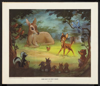 """Bambi (Walt Disney, 1947). Litho Poster (18"""" X 21"""") """"Bambi Meets His Forest Friends."""" Animated"""