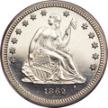 Proof Seated Quarters, 1862 25C PR64 Cameo PCGS. CAC....