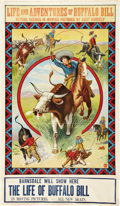 "Movie Posters:Western, The Life of Buffalo Bill (Pawnee Bill Film Co., 1912). Stock OneSheet (28"" X 41"").. ..."