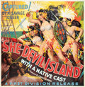 "Movie Posters:Adventure, She-Devil Island (First Division Pictures, 1936). Six Sheet (81"" X81"").. ..."