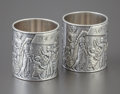 Silver Holloware, American:Napkin Rings, A CASED PAIR OF AMERICAN SILVER NAPKIN RINGS. Gorham ManufacturingCompany, Providence, Rhode Island, circa 1890. Marks: (li...(Total: 3 Items)