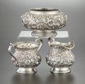 Silver & Vertu:Hollowware, AN AMERICAN SILVER AND SILVER GILT CREAMER, SUGAR AND WASTE BOWL. Baltimore Silversmiths Mfg. Co., Baltimore, Maryland, 1903... (Total: 3 Items)