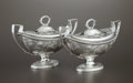 Silver Holloware, British:Holloware, A PAIR OF GEORGE III SILVER SAUCE BOATS. William Sumner, London,England, 1799-1800. Marks: (lion passant) (leopard's head c...(Total: 4 Items)