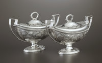 A PAIR OF GEORGE III SILVER SAUCE BOATS William Sumner, London, England, 1799-1800 Marks: (lion passant) (leopa